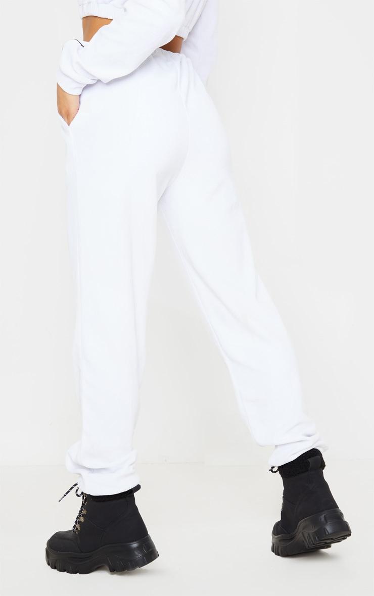 White Velour Contrast Stripe Jogger 4