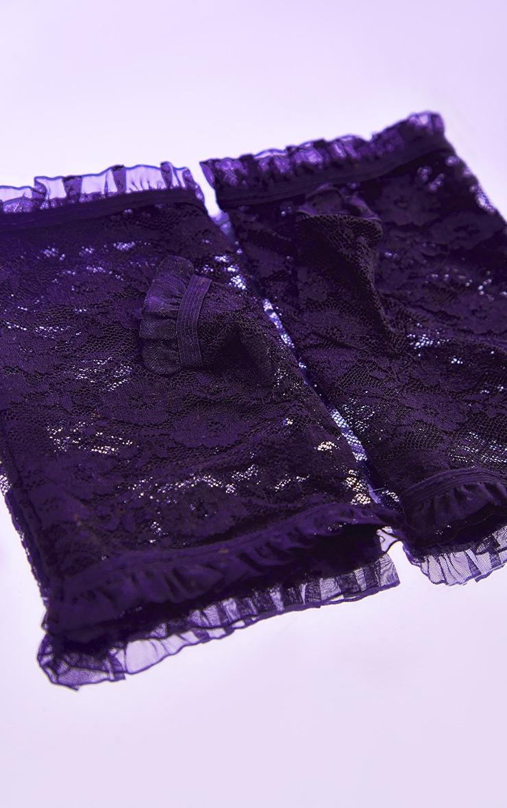 Black Finger less Lace Gloves 3