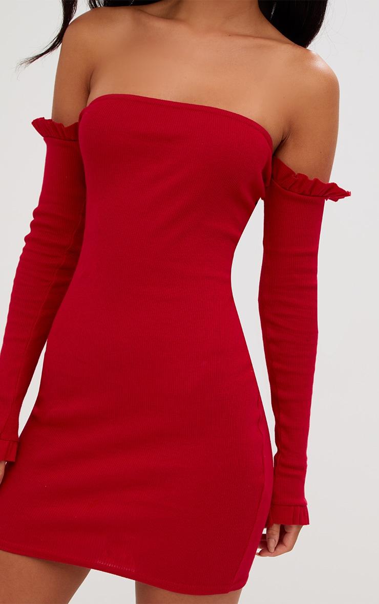 Red Ribbed Frill Bardot Bodycon Dress 5