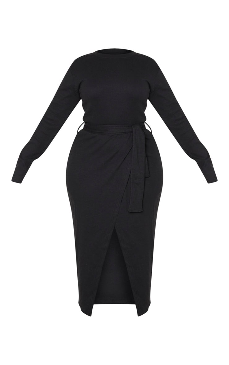 Plus Black Thick Rib Tie Waist Wrap Midi Dress 3