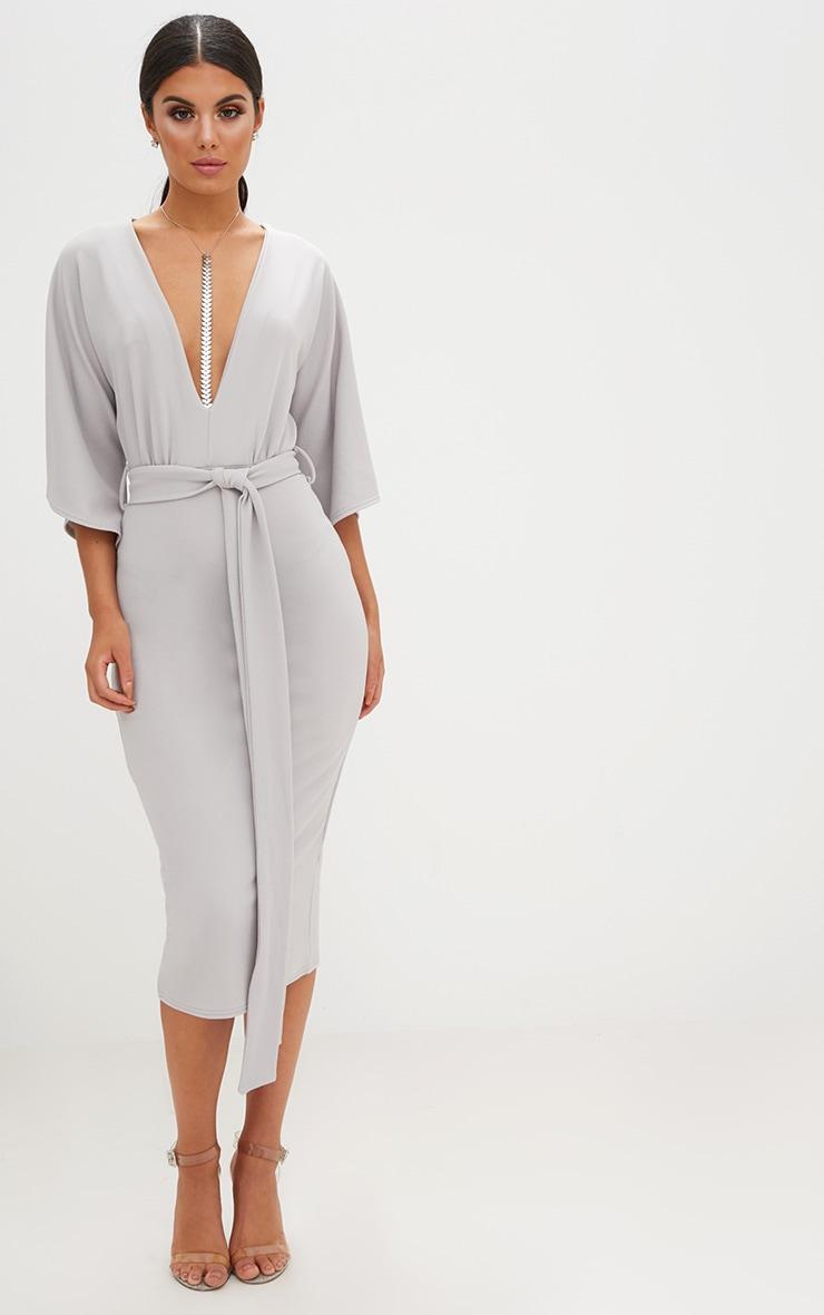 Ice Grey Kimono Sleeve Tie Waist Midi Dress 1