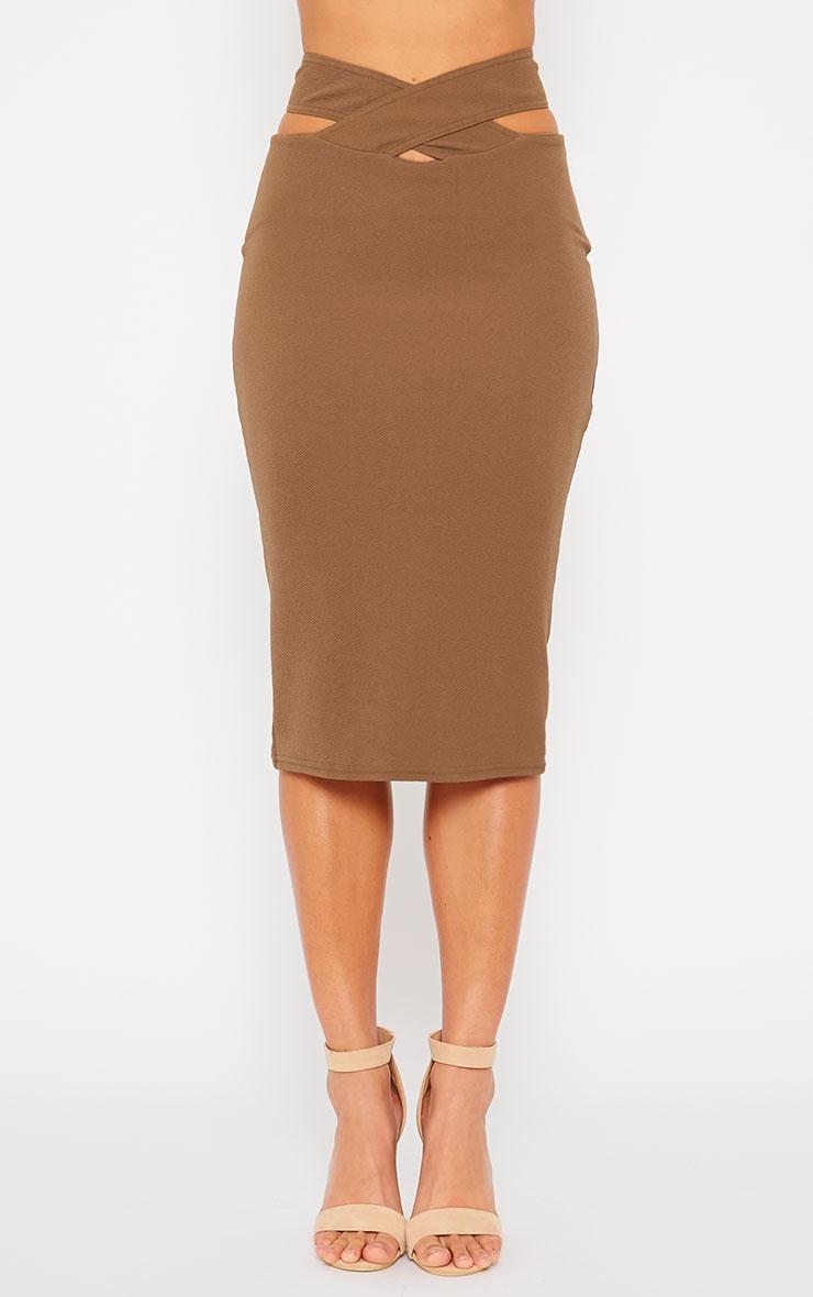 Shanel Mocha Cut Out Midi Skirt 2