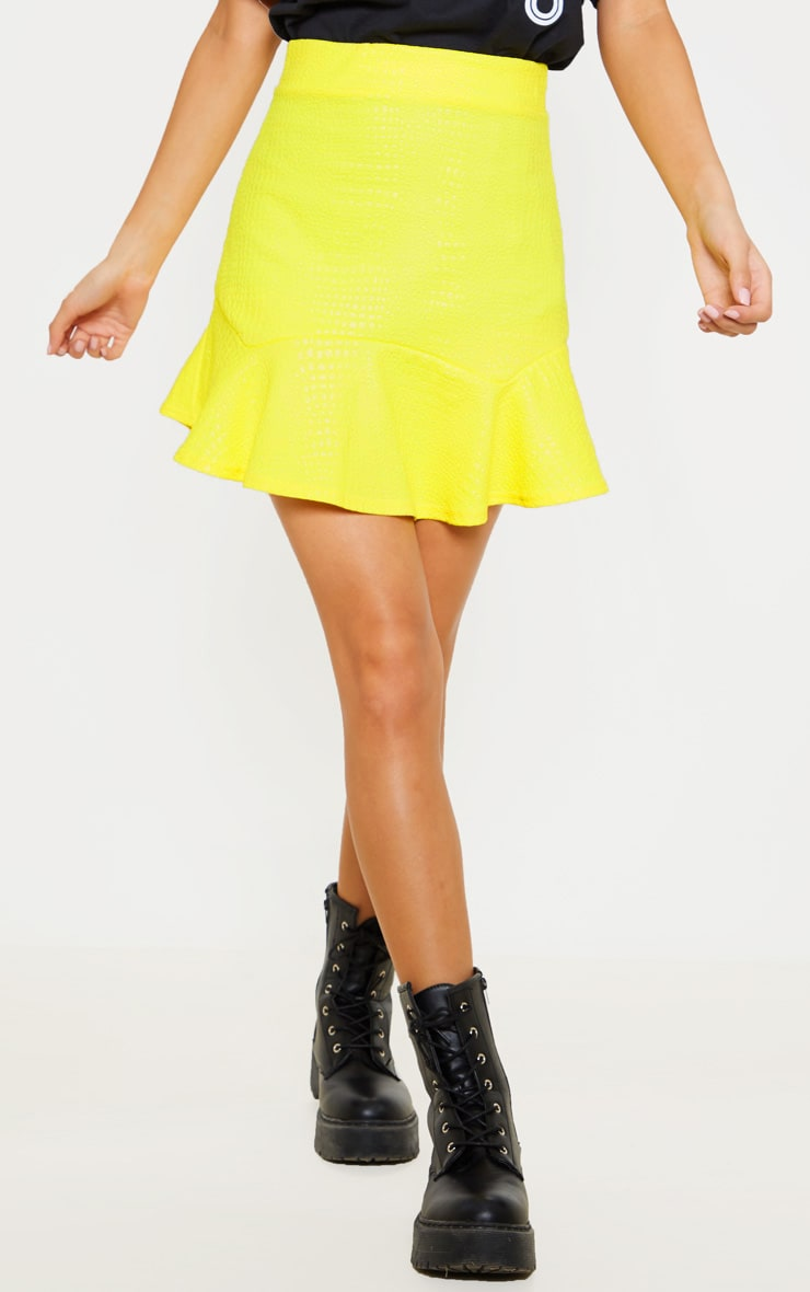 Bright Yellow Croc Print Frill Hem Skater Skirt 2