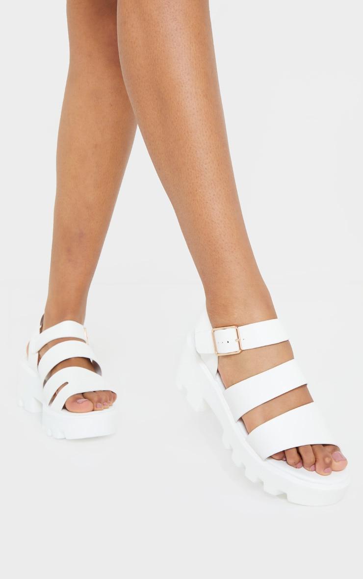White Triple Strap Chunky Sandals 2
