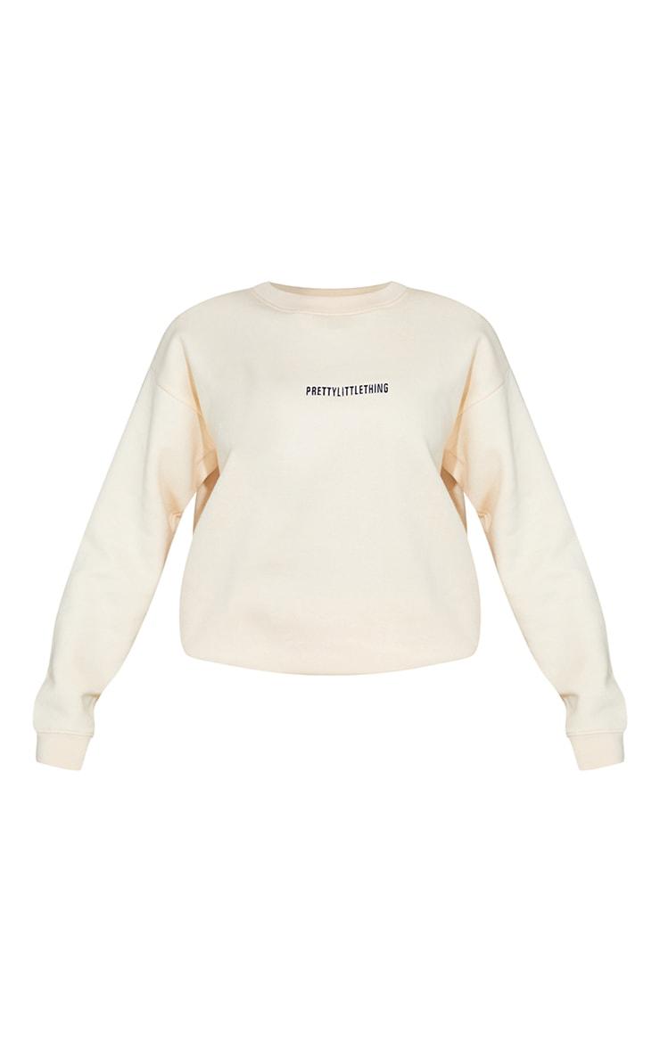 PRETTYLITTLETHING Ecru Embroidered LoungeSweatshirt 5