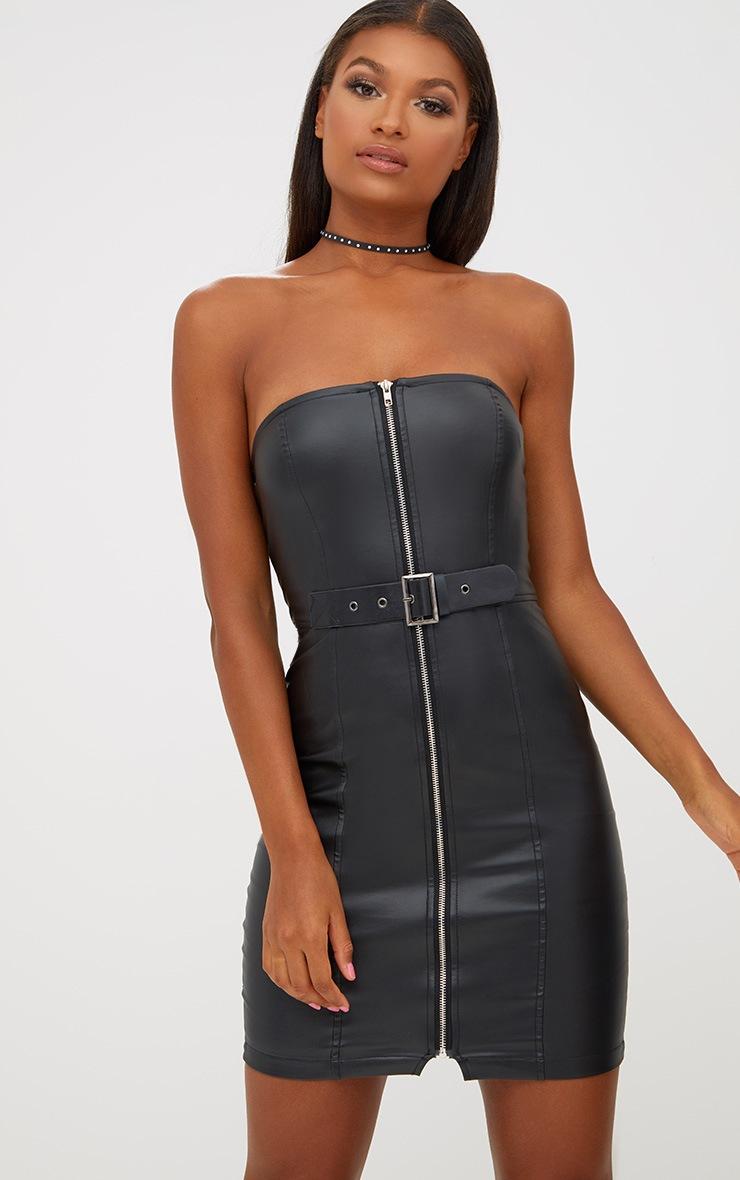 8522104159 Black Faux Leather Belt Detail Bodycon Dress | PrettyLittleThing