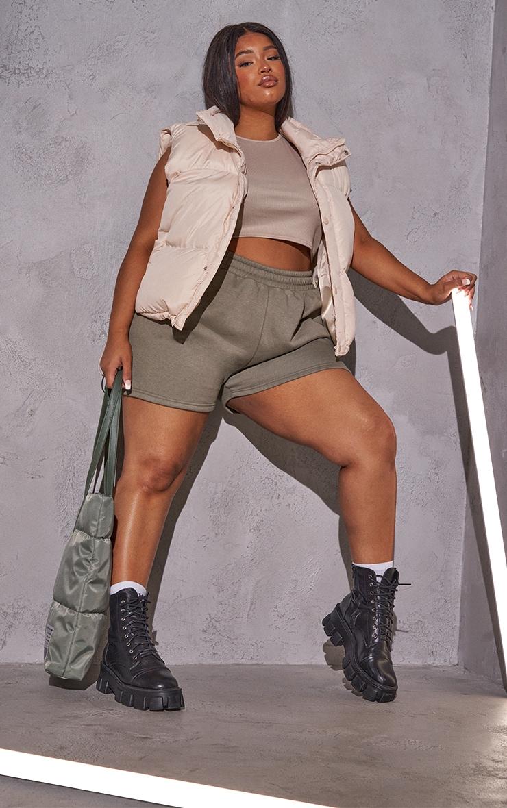 RENEW PRETTYLITTLETHING Plus Khaki Sweat Pocket Shorts 4
