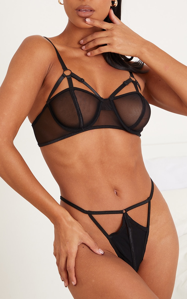 PRETTYLITTLETHING X CoppaFeel! Black Strappy Detail Mesh Thong 1