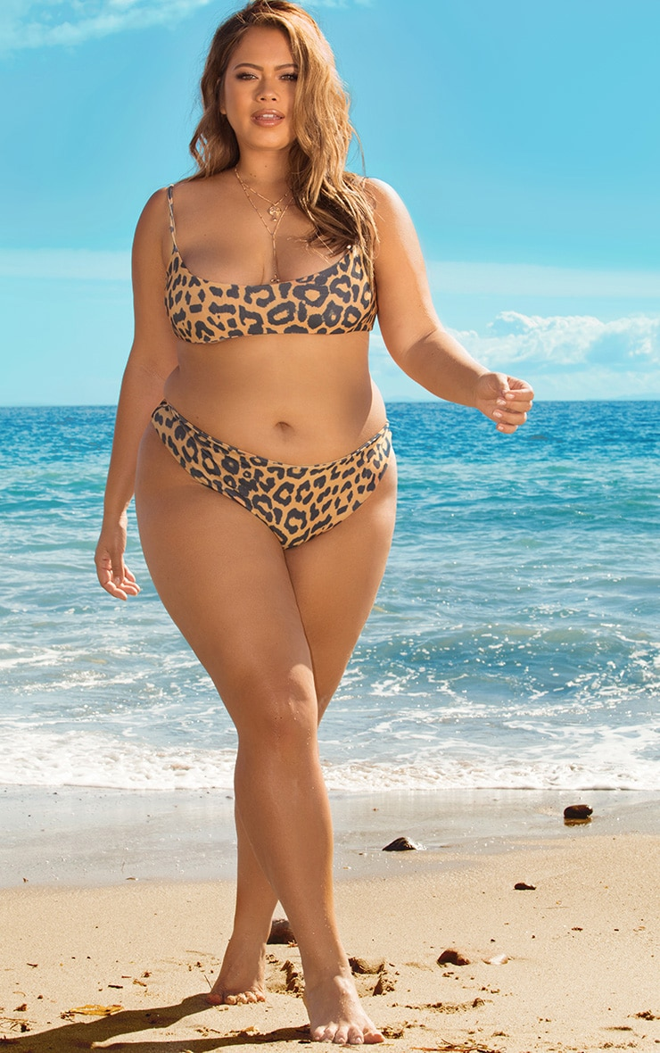 Plus Orange Cheetah Cheeky Bum Bikini Bottoms 1