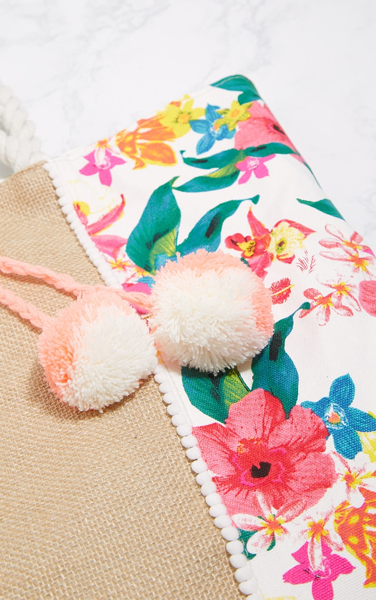 Pink Floral Pom Pom Beach Bag 4