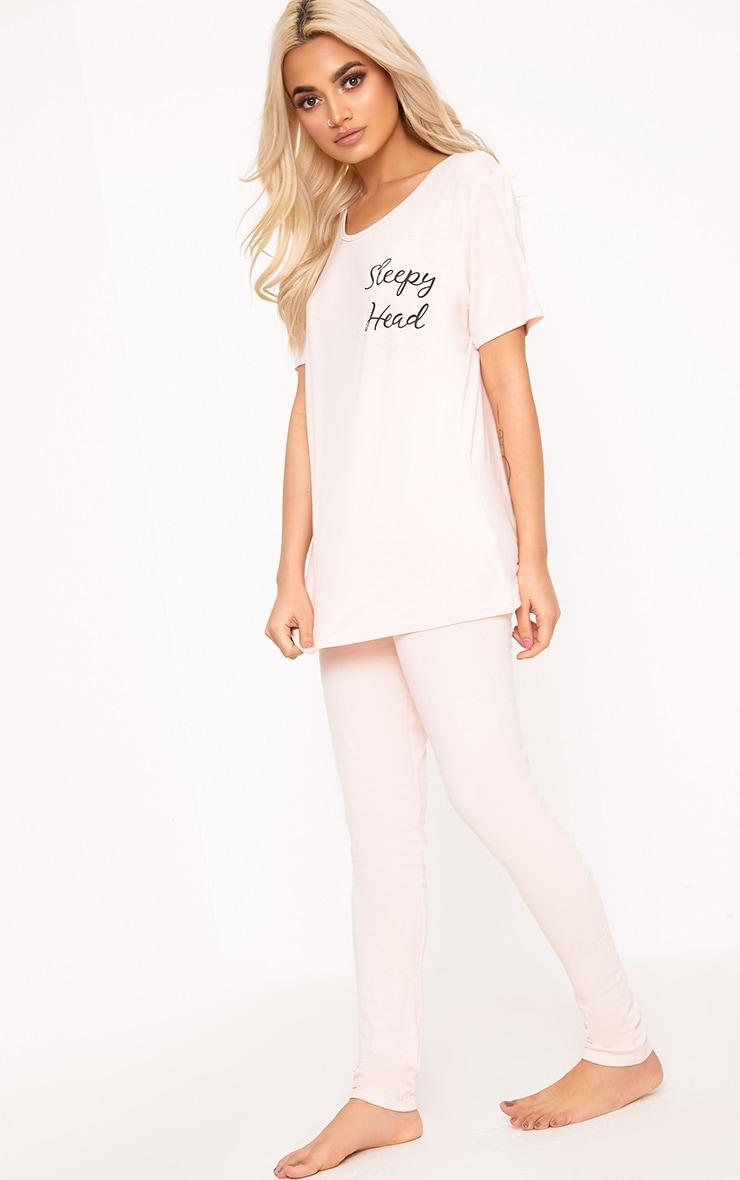 Ensemble pyjama avec slogan Sleepy Head couleur chair  1
