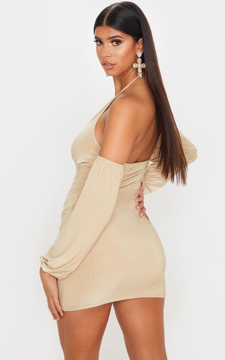 Stone Slinky Halterneck Bardot Bodycon Dress 2