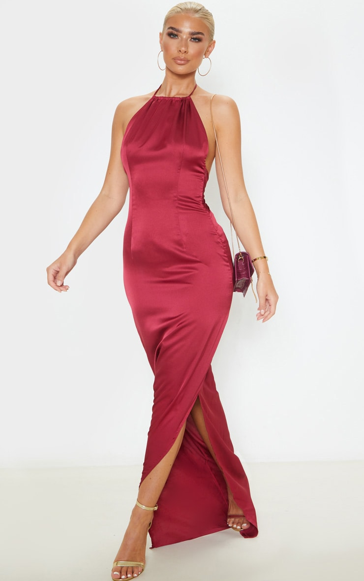 Burgundy Cowl Back Halterneck Maxi Dress 4