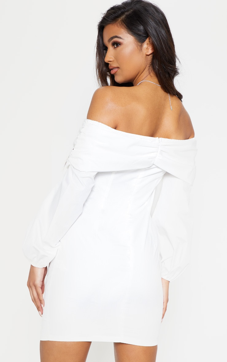White Puff Sleeve Ruched Bardot Bodycon Dress 3