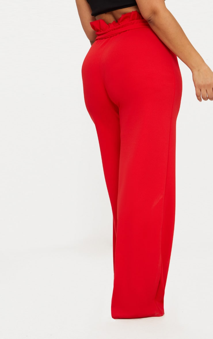 Plus Red Wide Leg Pants 4