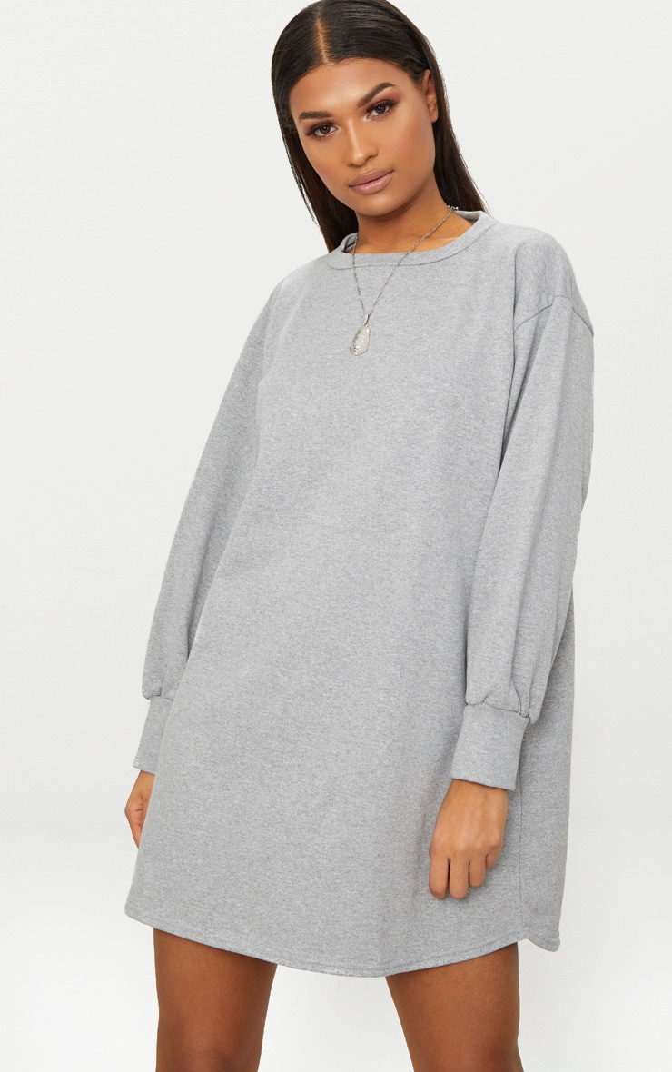Grey Oversized Sweater Dress 1