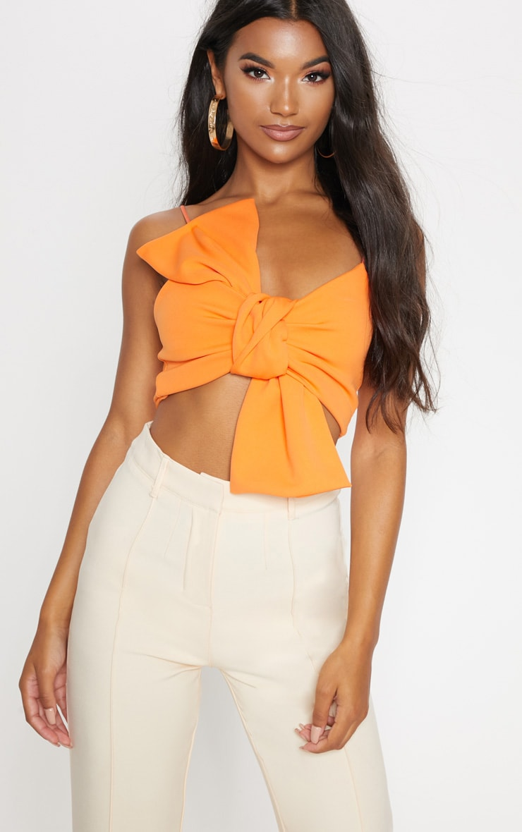 Crop top orange à gros noeud