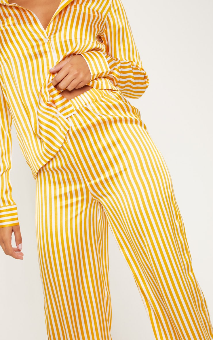 Mustard & White Stripe Satin Long Leg PJ Set 5