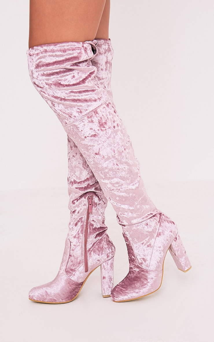 Bess Blush Crushed Velvet Heeled Thigh Boots 2