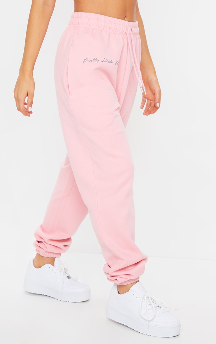 PRETTYLITTLETHING Candy Pink Embroidered Oversized Joggers 2
