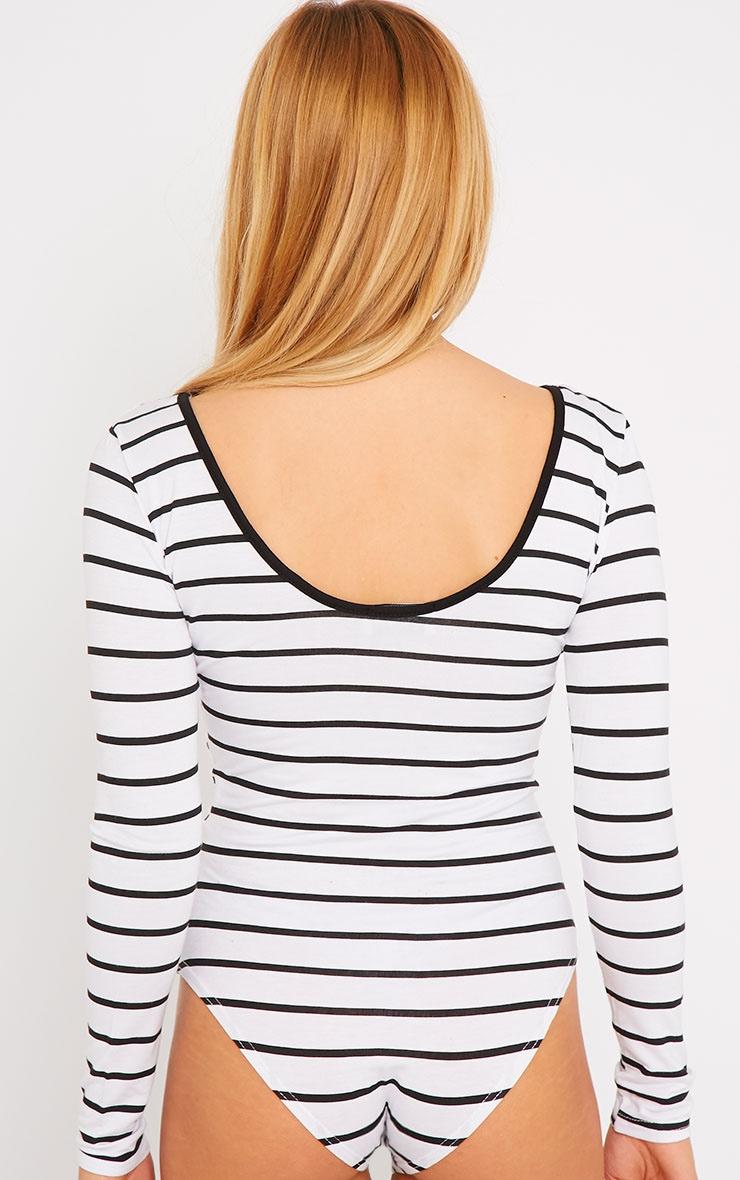 Aleskia White Stripe Mesh Insert Bodysuit 6