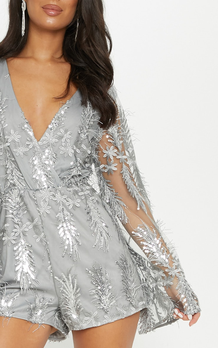 Silver Floral Sequin Embroidered Wrap Front Playsuit 5