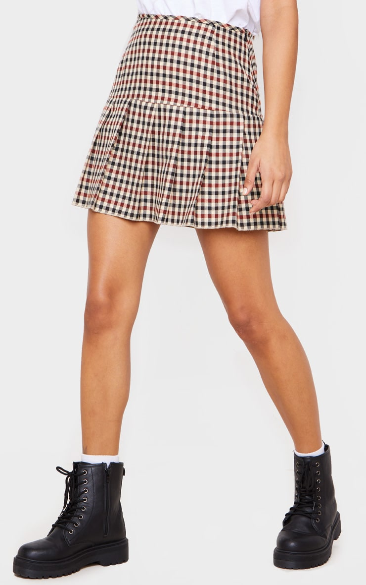 Stone Check Woven Pleated Mini Skirt 2
