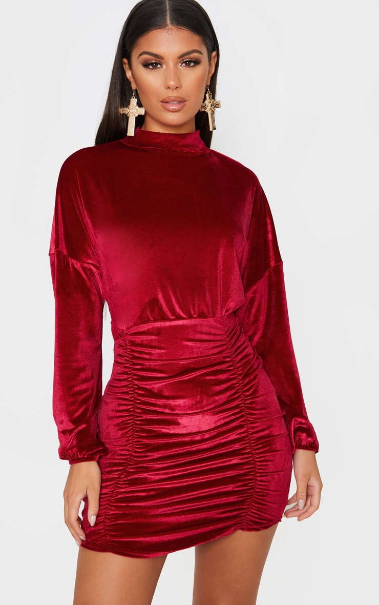 Burgundy Velvet High Neck Long Sleeve Ruched Bodycon Dress 1