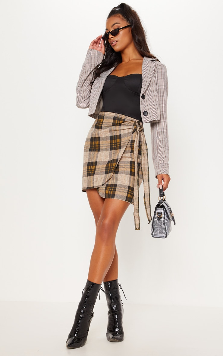 Brown Check Wrap Tie Skirt 1