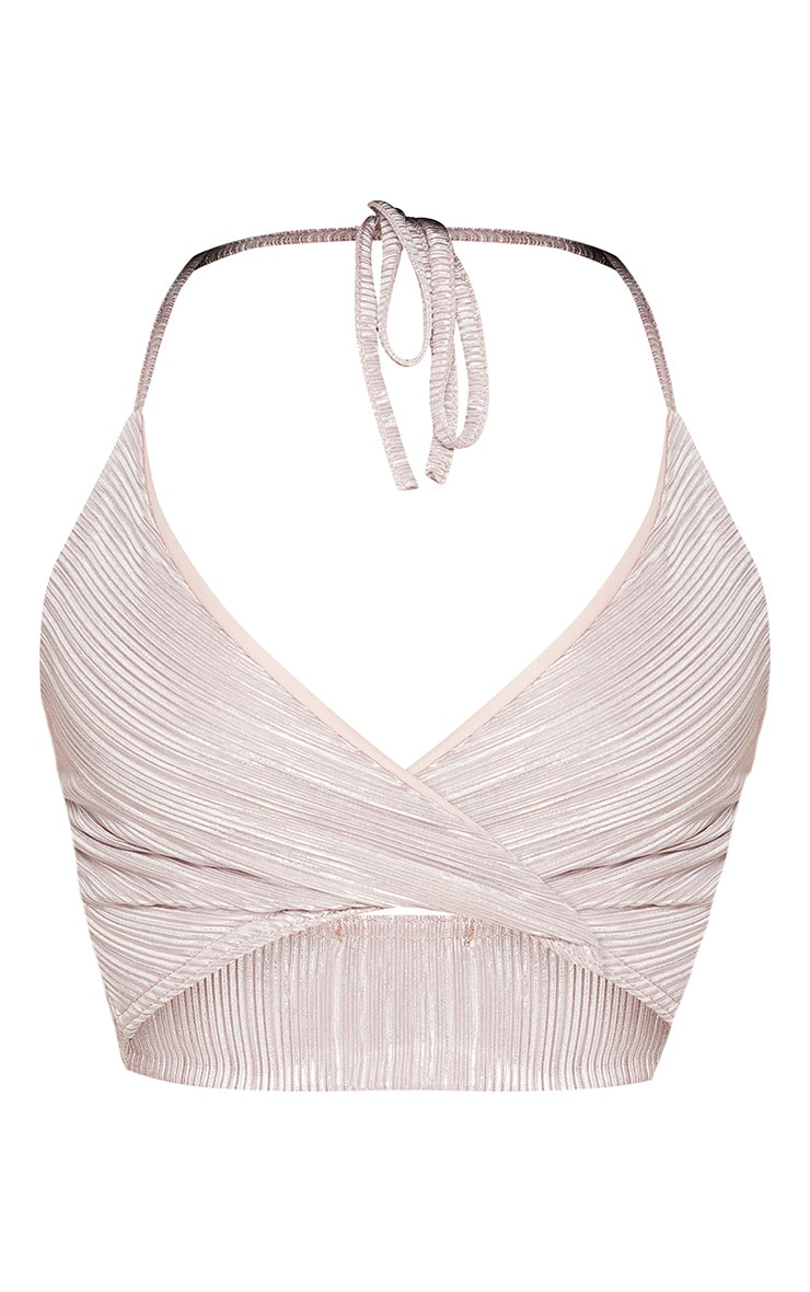 Shape Mauve Metallic Pleated Strappy Crop Top 3