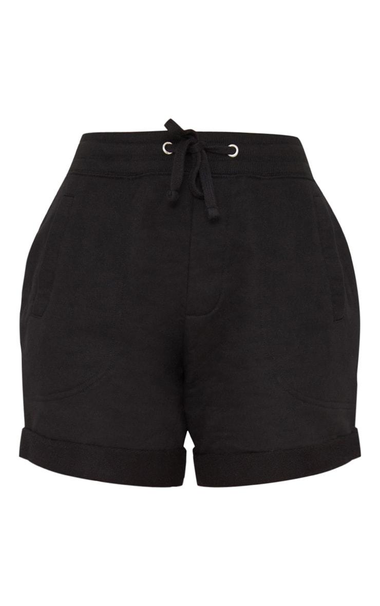 Black Turn Up Hem Sweat Short 3