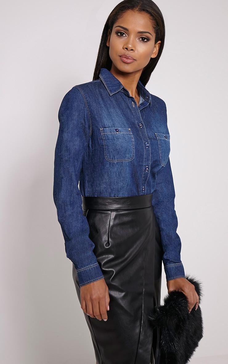 Fairah Mid Blue Fade Front Denim Shirt 4