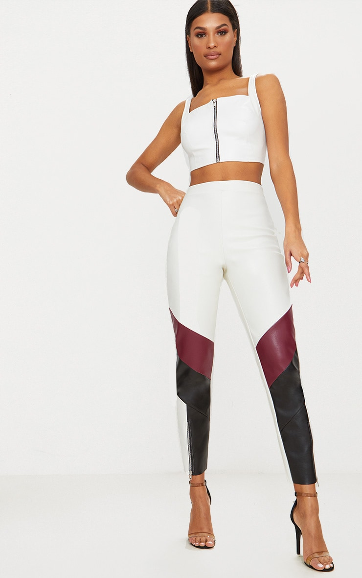 White Biker Cigarette Trousers