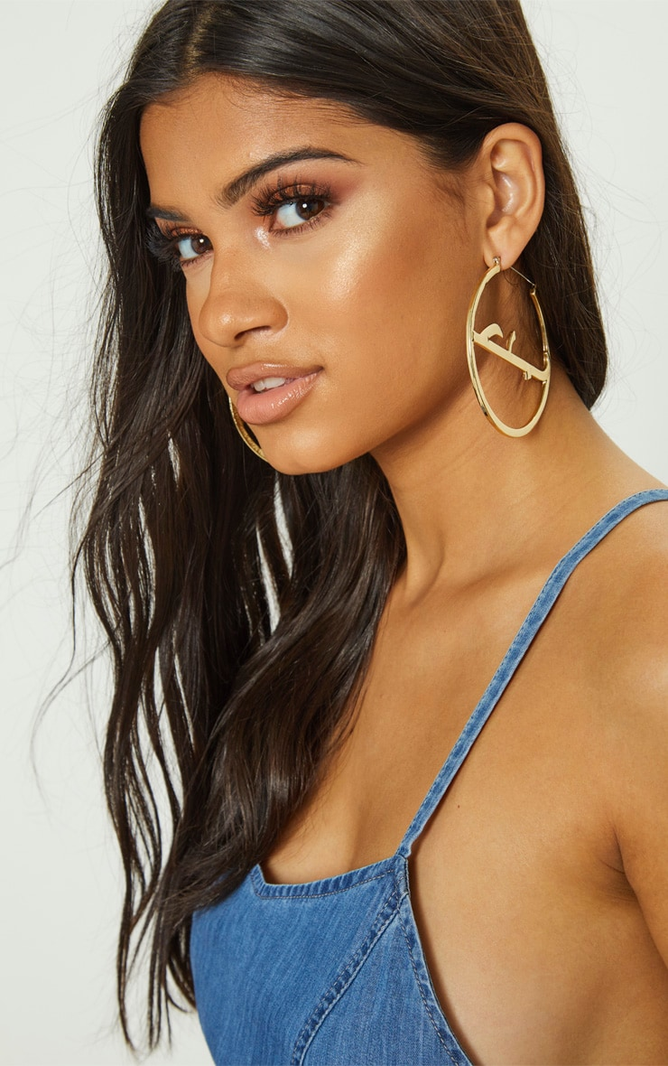 Gold Script Large Hoop Earrings 1