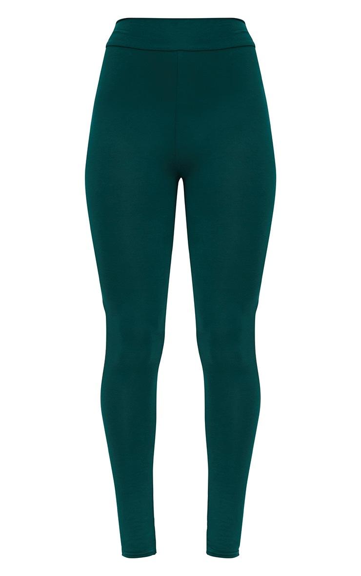 Emerald Green High Waisted Jersey Leggings 3