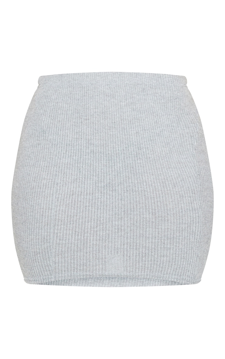 Shape Grey Brushed Rib Seam Detail Bodycon Skirt 5
