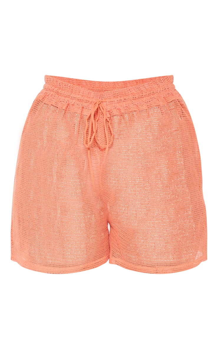 Coral Open Cheesecloth Crochet Short 3