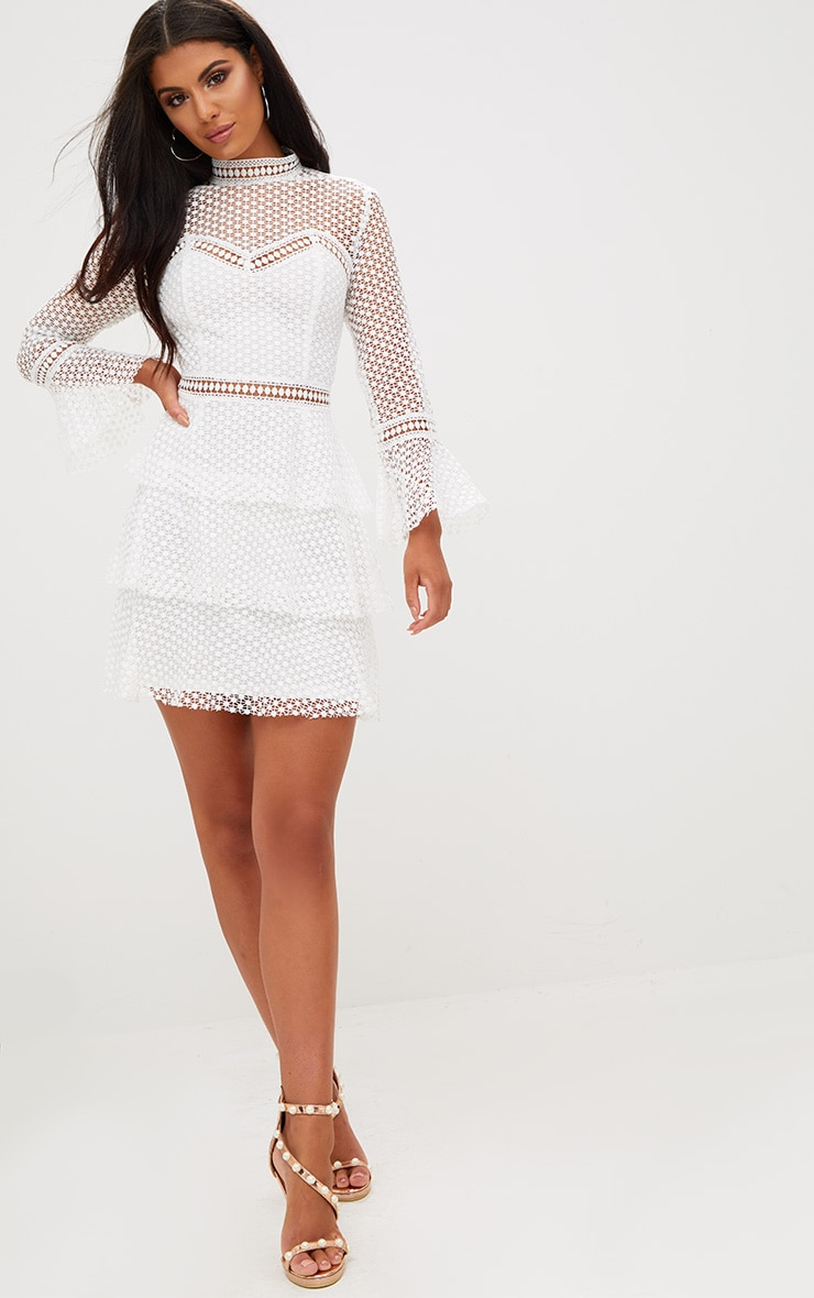 White Flare Sleeve Lace Tiered Mini Dress 4