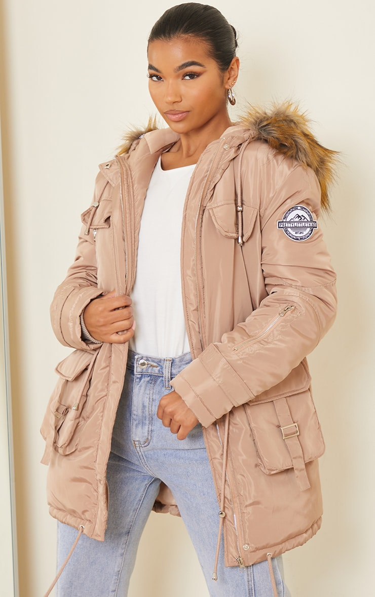 PRETTYLITTLETHING Recycled Taupe Nylon Faux Fur Hooded Parka Jacket 1