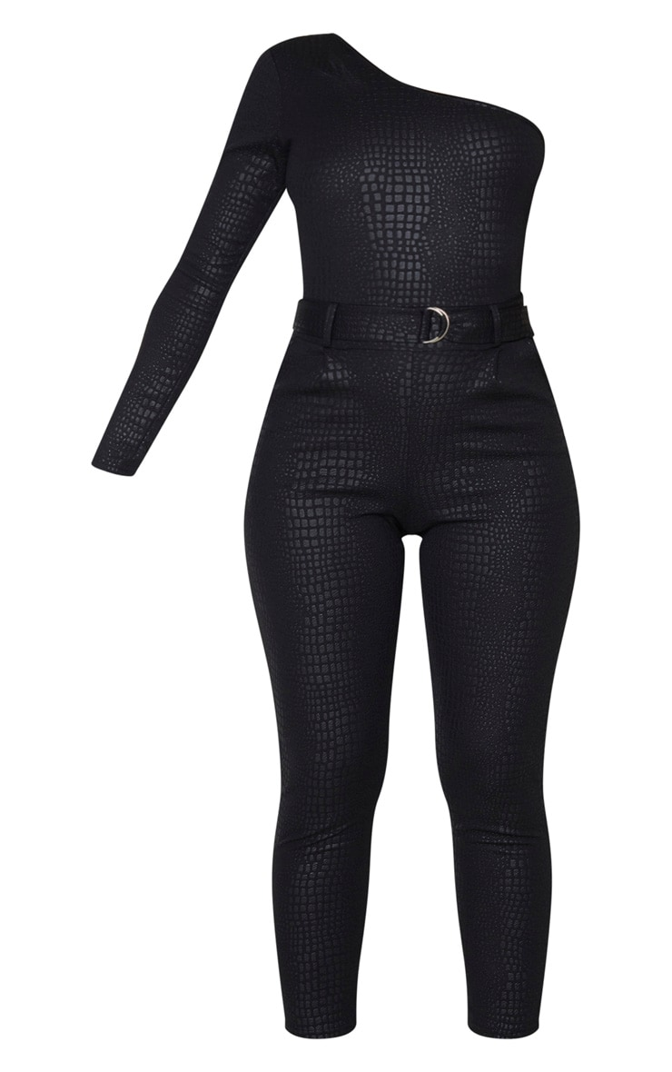 Black Textured Croc D Ring One Shoulder Jumpsuit 3