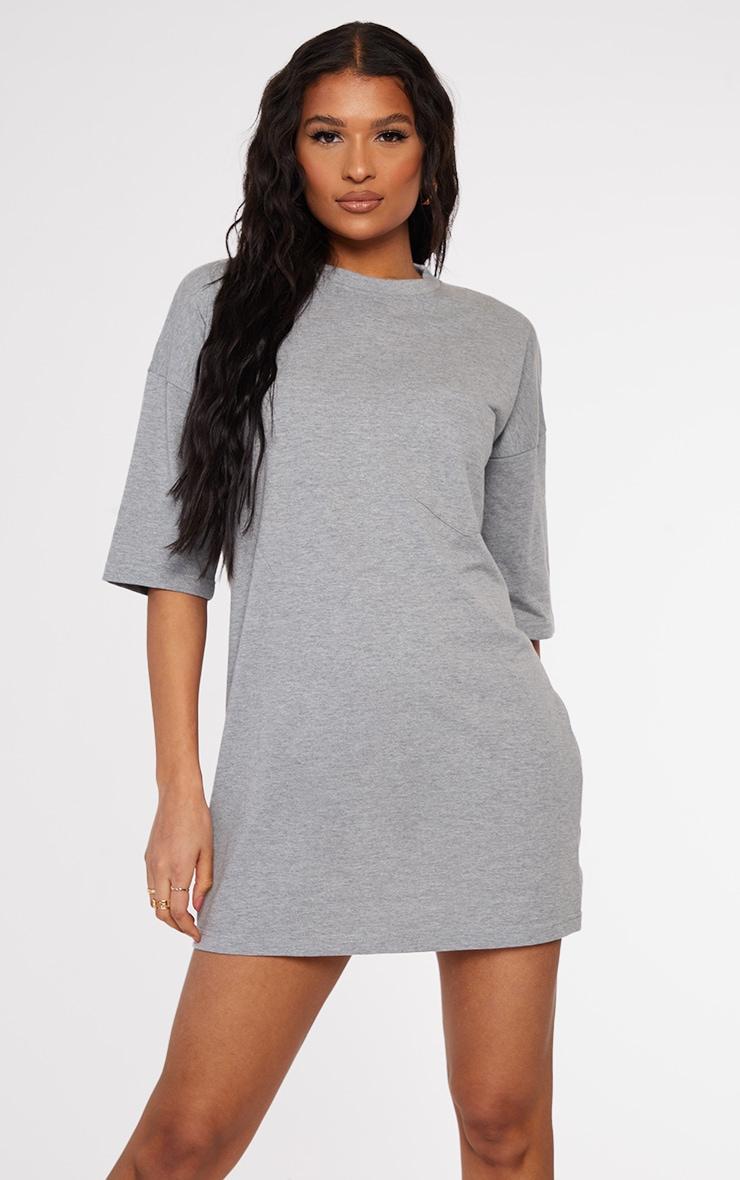 PRETTYLITTLETHING Grey Marl Slogan Pocket Detail Oversized T Shirt Dress 2