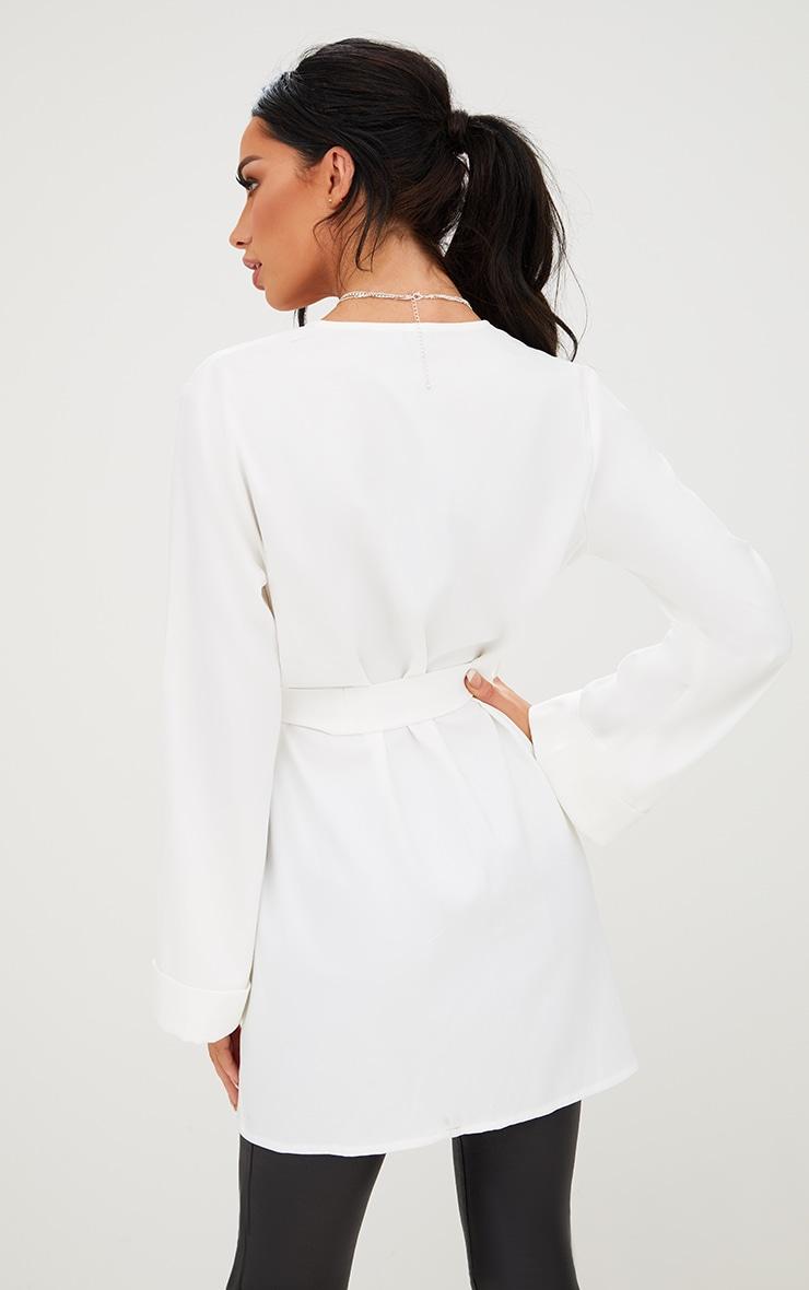 White Oversized Longline Blazer 2