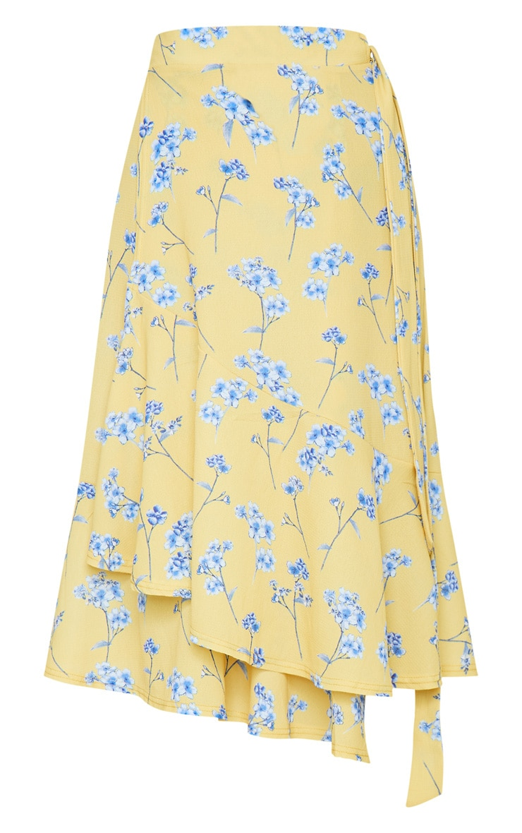 Yellow Floral Printed Frill Hem Wrap Midi Skirt 5