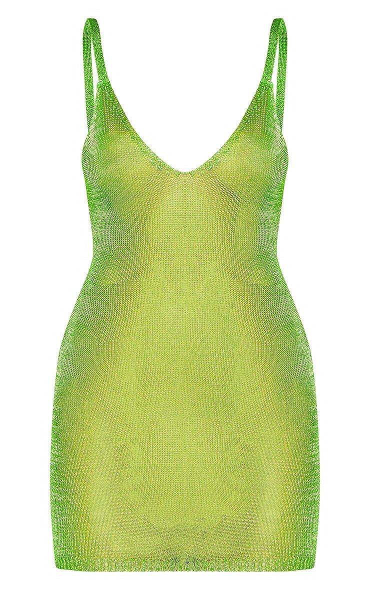 Lime Green Chain Detail Metallic Dress 3