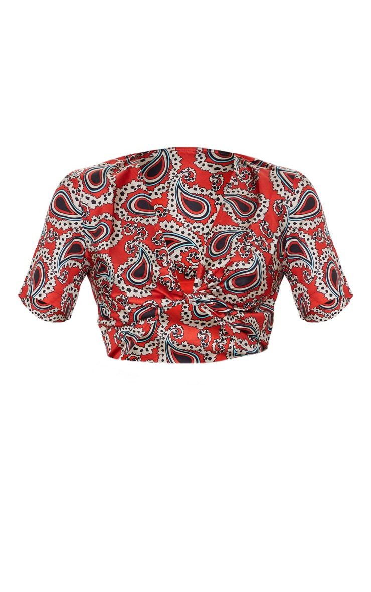 Red Paisley Twist Front Short Sleeve Top 5