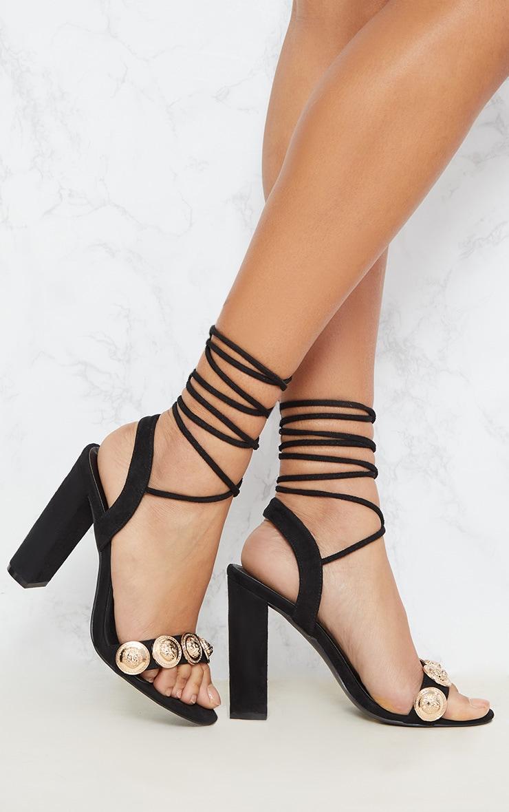 Black Coin Studded Leg Tie Block Heel Sandal 1