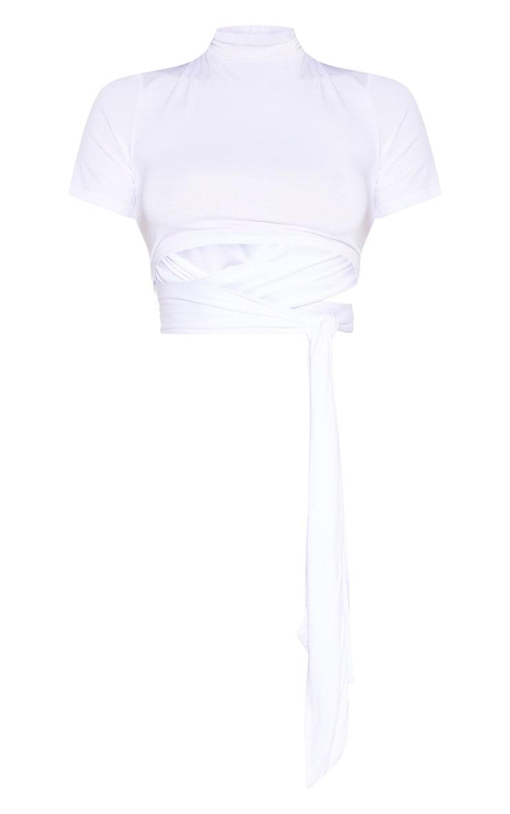 White High Neck Tie Crop T Shirt 3