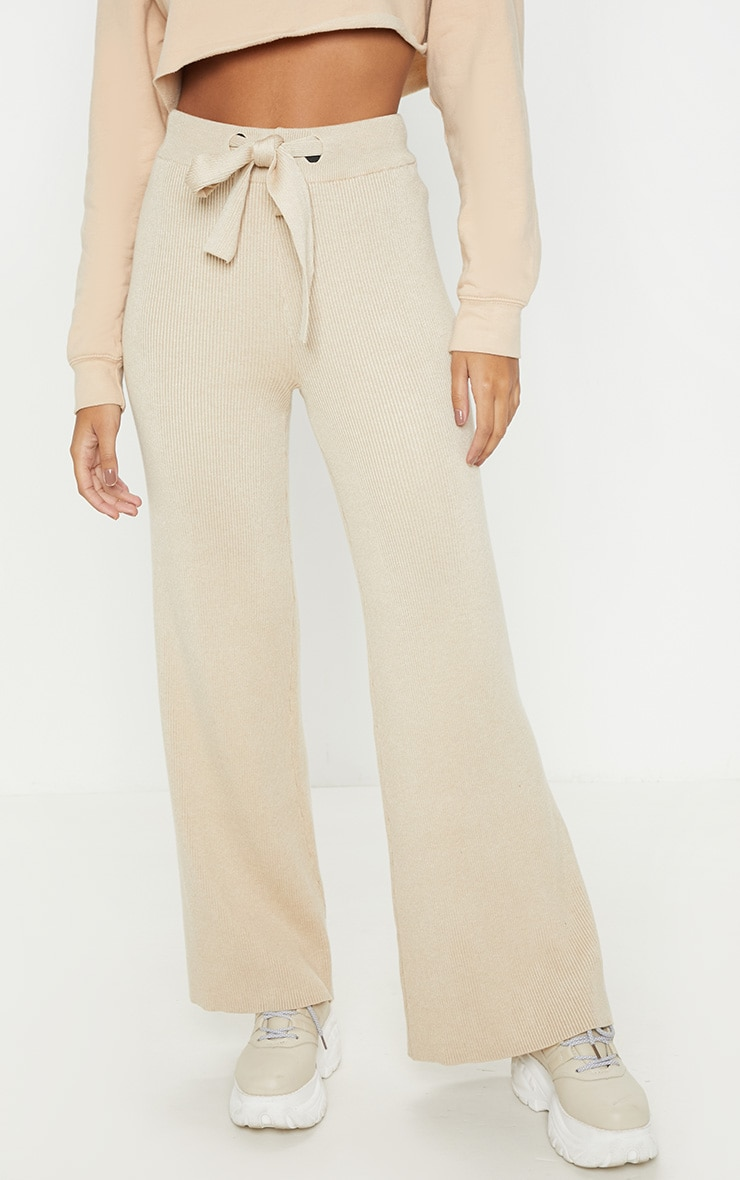 Ribbed Knitted Wide Leg Stone Trouser  2