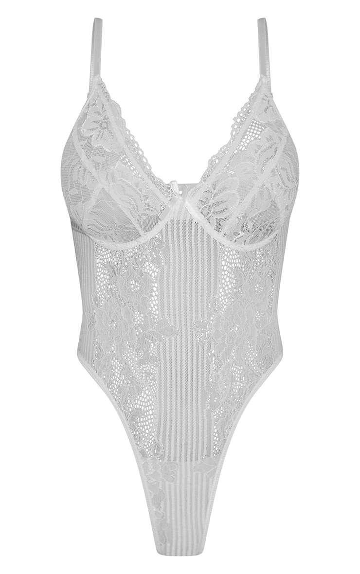 White Lace Insert High Leg Cupped Body 5