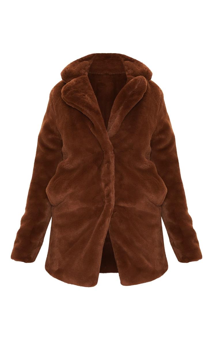 Petite Chocolate Brown Faux Fur Coat 3
